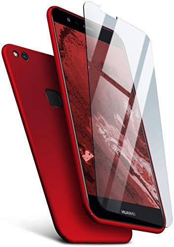 MoEx Protezione a 360 Gradi a 360° [Custodia + Vetro] Compatibile con Huawei P10 Lite | Copertura Cellulare Sottile in Rosso incl. Pellicola Protettiva cristallina in Vetro temperato