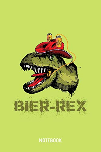 Bier-Rex Notebook: A5 (Handtaschenformat) Kariert Brauerei Notizheft oder Bier Journal - Dinosaurier Tagebuch oder T-Rex Buch als Notizbuch für Männer und Frauen