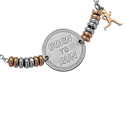 Beloved Bracelet pour femme en acier My Passion – Rondelles argent et or rose – Charm avec inscription en relief – Pendentif à thème – Taille réglable – Born to run