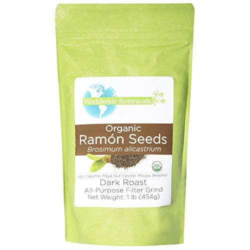 Worldwide Botanicals Organic Ramón Seeds – Dark Roast - AKA Capomo, Ojoche, Maya Nut, Bread Nut, Mojo, Masica - Ground Coffee Alternative, Gluten-Free, Kosher, Brew Like Coffee! 1 lb