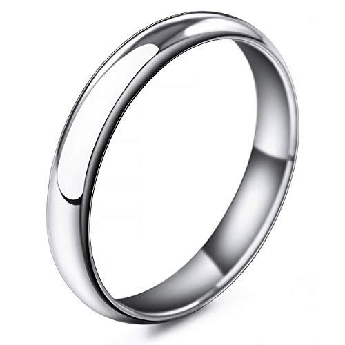MunkiMix Ancho 4mm Acero Inoxidable Banda Venda Anillo Ring El Tono De Plata Alianzas Boda Talla Tamaño 20 Hombre,Mujer