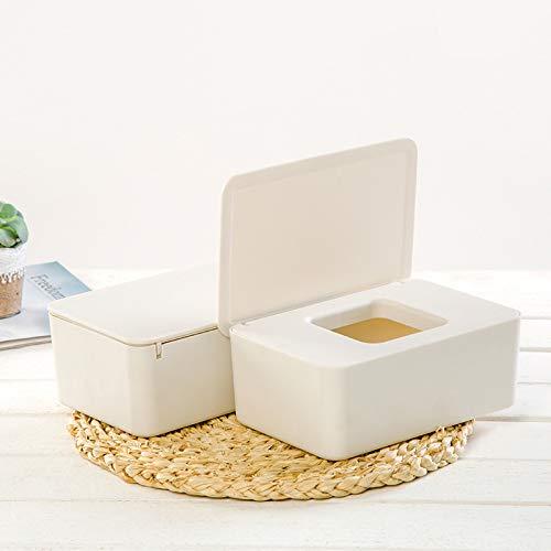 Juntful Caja de pañuelos húmedos dispensador de toallitas húmedas, Caja de Almacenamiento de pañuelos con Tapa a Prueba de Polvo para el hogar y la Oficina