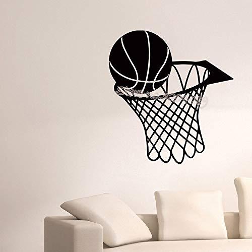 JXLLCD Basketballkorb Sport Kinderzimmer Kinderzimmer Wandtattoo Wandbild Ball im Korb Vinyl Wanddekoration Aufkleber Fitnessstudio Poster Tapete 56x58 cm