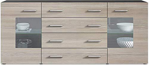 Anrichte mit zwei Türen und vier Schubladen, Glasregal,E