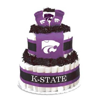 Collegiate Diaper Cakes - Baby Gifts for The Sports Fan-College Themed Diaper Cakes Featuring Your School Logo (Standard, Kansas State)
