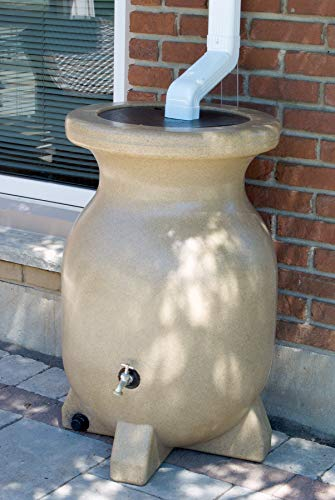 Kyoto 55 Gallon Sand-Stone-Look Rain Barrel UV Resistant Container with Drainage