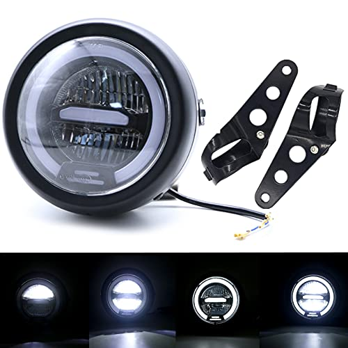 5.75 Inch Round Motorcycle LED Headlight with White Halo and Brackets Assembly - Universal Front...