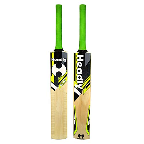 Headly Blast Poplar Willow Cricket Bat (Short Handle) with Heavy Yellow Cricket Tennis Ball