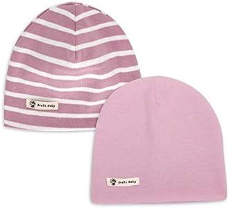 LACOFIA 2 Piezas Gorro Beanie para bebé Sombreros de Punto Calientes para bebés niñas Gorra de algodón 100% súper Suave para Invierno/otoño Rosa 0-6 Meses
