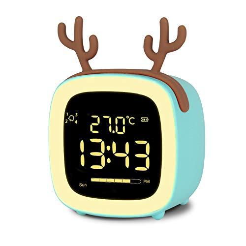 Sveglia Digitale, NATPOW Sveglia da Comodino Sveglia Notturna Per Bambini Sveglia Con Conto Alla Rovescia Snooze Luce Timer 4 Allarmi Controllo Vocale Sveglia Ricaricabile