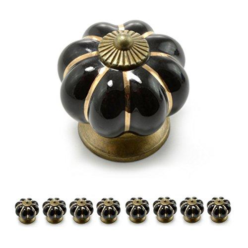 """Set Möbelknöpfe """"Krone"""" aus Porzellan mit antik Bronze Verzierung, (Set in vielen verschiedenen Farben erhältlich) Vintage Schrankknauf aus Keramik, Möbelgriff, Marke Ganzoo (8er SET, Schwarz)"""