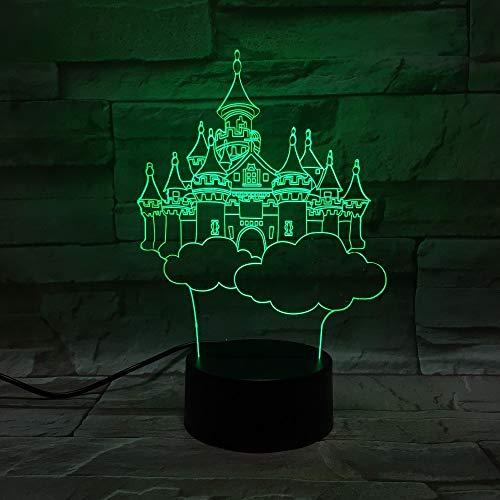 Lila Nachttischlampe 3D Nachtlicht Erstaunliche Kinder Geschenk Traumhaftes Schloss USB LED Tisch Nachttischlampe Als Wohnkultur Baby Mädchen Schlafzimmer Nachtlicht