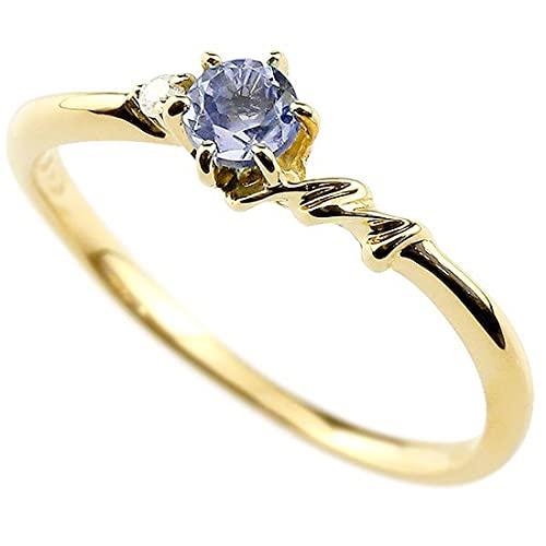 [アトラス]Atrus 指輪 レディース 18金 イエローゴールドk18 タンザナイト ダイヤモンド イニシャル ネーム M ピンキーリング 華奢 アルファベット 12月誕生石 31号