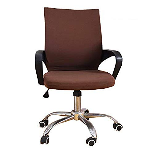 Deisy Dee Universal Computer Office Rotating Stretch Polyester Mid Back Function Chair Cover C111 (Coffee)