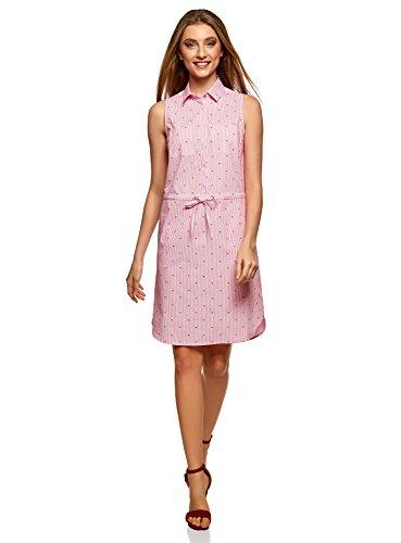 oodji Ultra Damen Baumwoll-Kleid mit Tunnelzug, Rosa, DE 38 / EU 40 / M