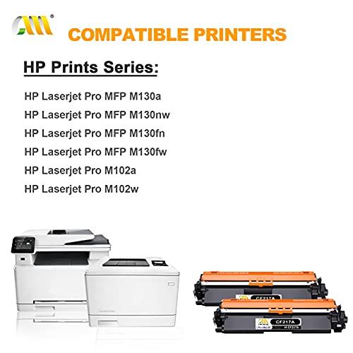 CMCMCM 2PK Repuestos de Cartuchos de Tóner Compatibles para HP 17A CF217A Trabajo con Impresora HP Laserjet Pro MFP M130nw M130fw M130fn M130A M102w M102A, 2 Negro