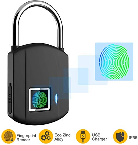Fingerprint Padlock, IP65 Waterproof Smart Lock keyless Digital Lock, Travel Lock, USB Recharge Security Lock for School Locker, Gym, Backpack,Door, Cabinet, Suitcase, Indoor and Outdoor