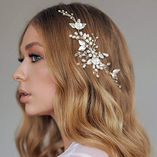 Zoestar Haarband mit Blume, Hochzeit, silberfarben, Kristall, Strass, Brautschmuck, Perlen, Blatt-Haarschmuck für Frauen und Mädchen