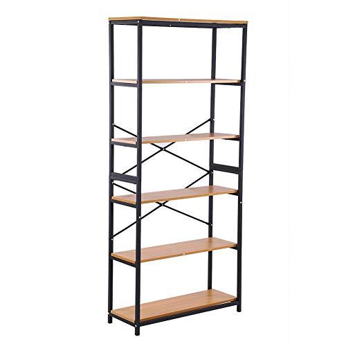 80x30x180cm 5 lagen boekenkasten, hoge boekenplankopslag, Smeedijzeren boekenplank, Smeedijzeren plank, Stalen houten plank display rack, Smeedijzeren rek