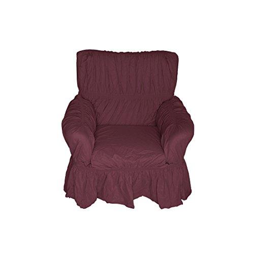 Nurtextil24 Sofahussen 100% Baumwolle in 20 Farben und 3 Größen Sesselbezug 1er Bordeaux