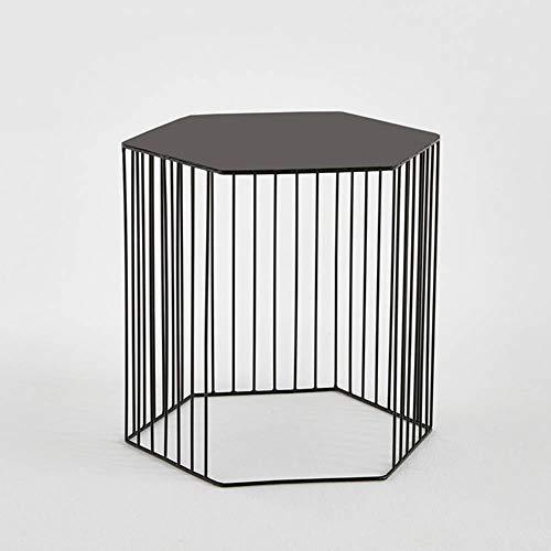 Tables HAIZHEN Pliable Bordure métallique hexagonale, de Chevet Petite Basse en Gros, Noir, Or Stations de Travail informatiques (Couleur : Noir)