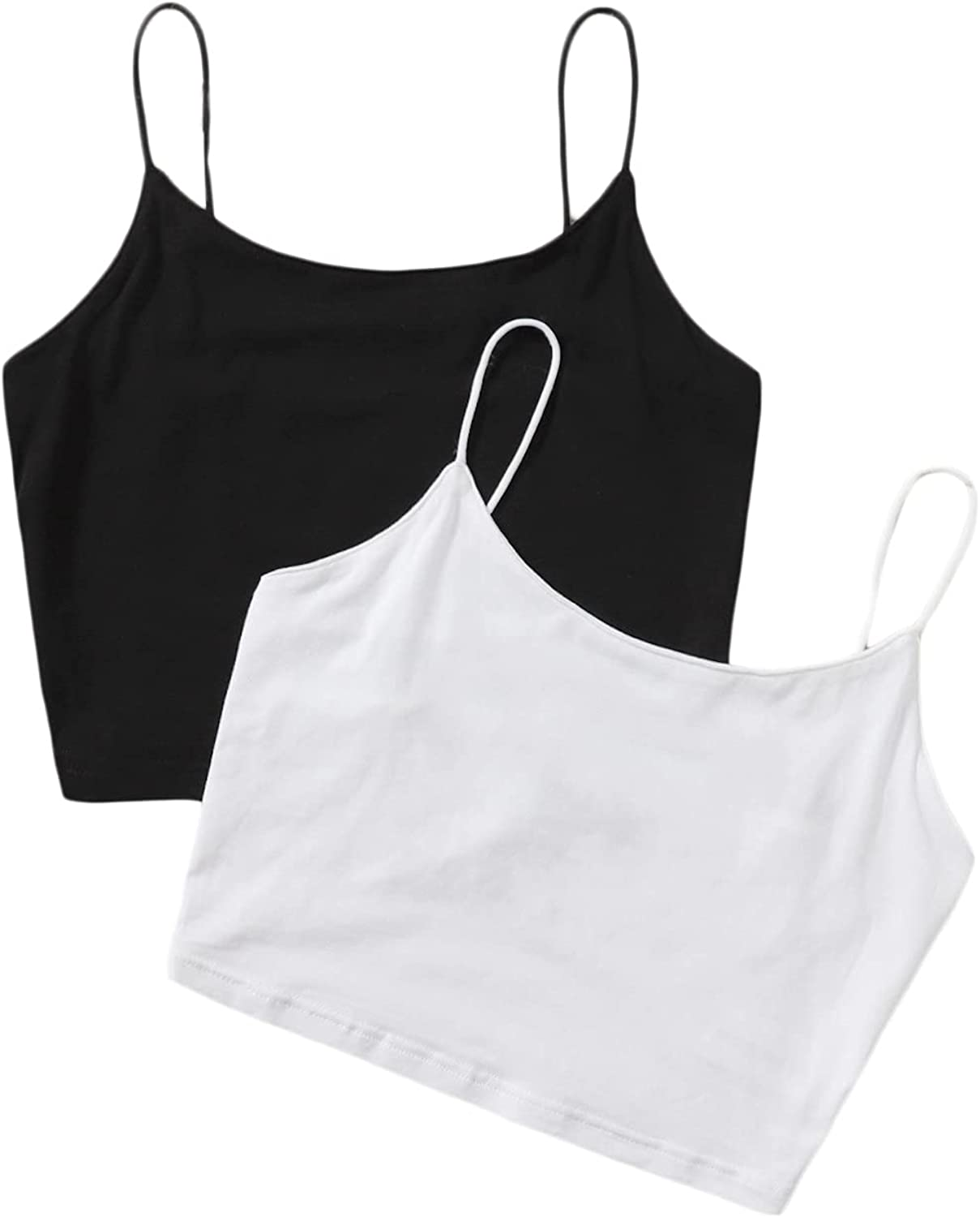 SheIn Women's 2pcs Basic Strappy Crop Cami Top Sleeveless Solid Camisole