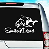 Sanibel Island Florida Dolphin Vinyl Decal Sticker Bumper Cling for Car Truck Window Laptop MacBook Wall Cooler Tumbler | Die-Cut/No Background | Multi Sizes/Colors, 8-Inch, White