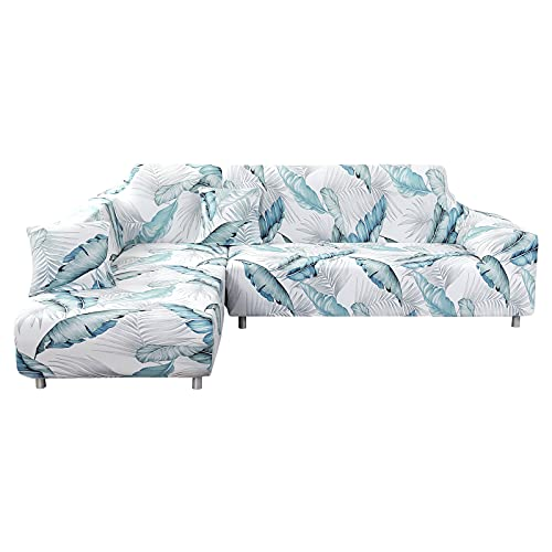 NIBESSER Sectional Couch Covers, L-Shaped Sofa Covers 2pcs Elastic Stretch Sofa Slipcovers Soft Dust-Proof L-Type Sofa Covers Furniture Slipcovers Non-Slip Sofa Cover Set for Living Room