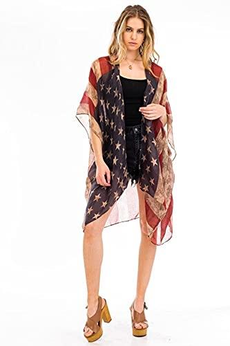 Patriotic American Flag Inspired Distressed Kimono Cardigan Sleeveless Vest or Scarf Vintage Boho 4th of July or Beach Kimono Flowing Summer Vest