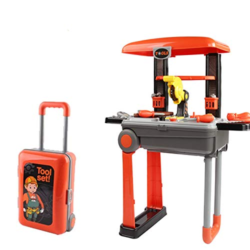 YQZ 2-in-1 Portable Kids Tool Set, Work Bench Suitcase Play Set, with Tool Accessories Included, Educational Pretend Play Toy