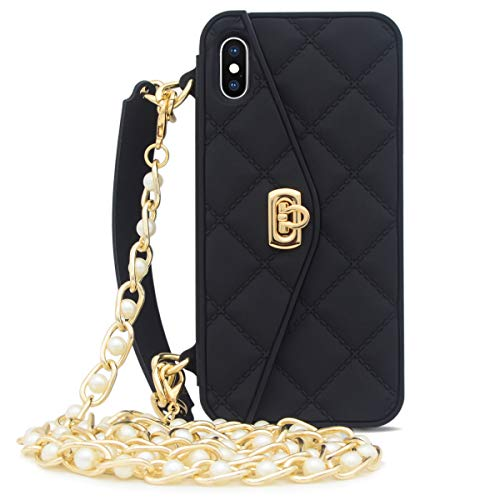 Omio for iPhone Xs Max Handbag Case with Card Holder Wrist Lanyard Strap Soft Silicone Cover for iPhone Xs Max Wallet Case for Women Luxury Stylish Long Pearl Crossbody Chain Case for iPhone Xs Max