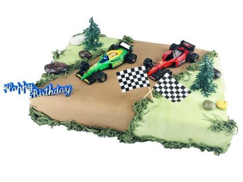 Cake Company Tortendekoration Rennwagen mit Zielflaggen | Tortendeko Kindergeburtstag & Geburtstag | Motivtorte Rennwagen
