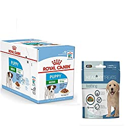 Royal Canin Mini Puppy Wet Dog Food in Gravy Pack 12 x 85g. and Healthy Teething Treats Intense Energy Content: Meets the energy needs of small breed puppies Digestive Health: Combination of nutrients with high quality protein and prebiotics to suppo...
