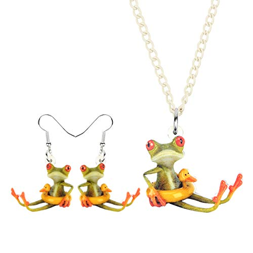 DUOWEI Acrylic Unique Cartoon Swimming Ring Frog Jewelry Sets Funny Animals Drop Earrings Necklace Gifts for Women Teen Girls (Swimming Ring Frog)