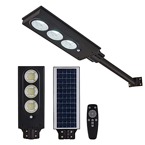 9000LM Solar Street Light Outdoor, 90W Solar Motion Sensor Lights with 438 LEDs, IP66 Waterproof and Remote, 6500k Adjustable Brightness Parking Lot Light for Yard,Shed,Garage,Driveway,Playground