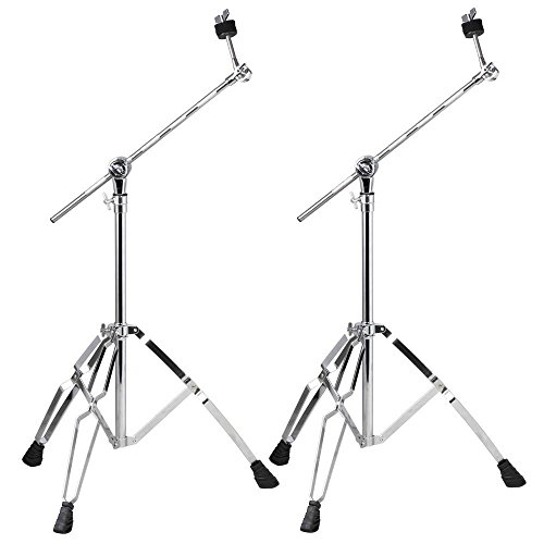 go2buy 2 Pack Cymbal Tripod Stand Holder Chrome-Plated Steel Boom Arm Double Braced Percussion