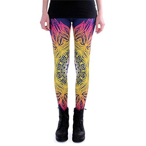cosey - Bedruckte Bunte Leggins (Einheitsgröße) Verschiedene Leggings Designs, Mandala Lichter, Einheitsgröße