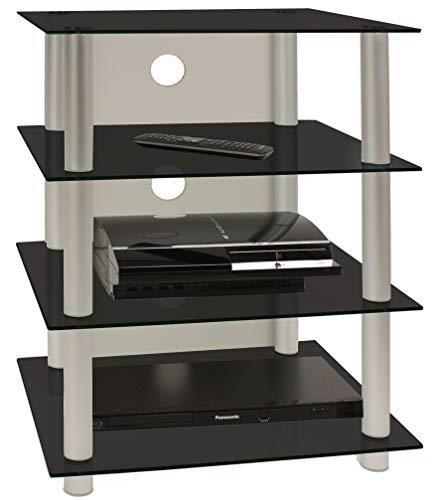 VCM Blados-Mueble para Equipo de Alta fidelidad, Cristal de Color Negro