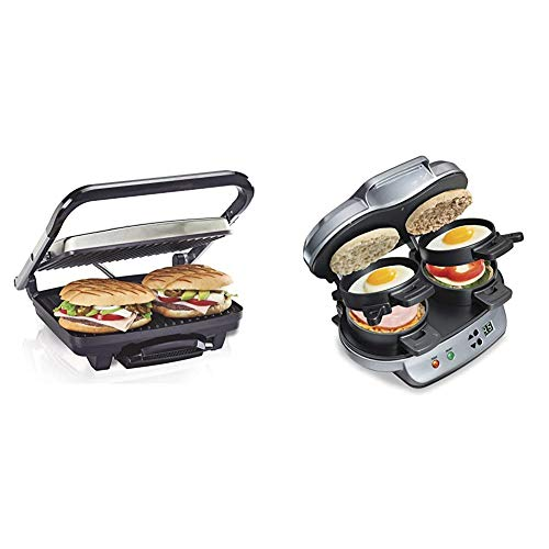 Hamilton Beach Panini Press, Sandwich Maker & Electric Indoor Grill, Upright Storage, Nonstick Easy Clean Grids, Stainless Steel (25410) & Dual Breakfast Sandwich Maker with Timer, Silver (25490A)