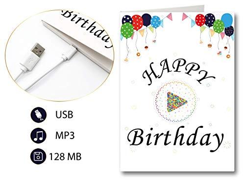 PlayMegram bespielbare Audio-Geburtstagskarte mit USB und 128 MB Speicher, Eigene Sprachnachrichten und Musik, Audio-Grußkarte, Glückwunschkarte, Geburtstagsgrußkarte, Kreative Geschenkidee