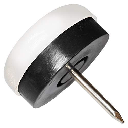 Adsamm 32 x Patins en Plastique à clouer et Caoutchouc Noir | Ø 25 mm | Blanc | Ronde | Patins glisseurs qualité Premium de