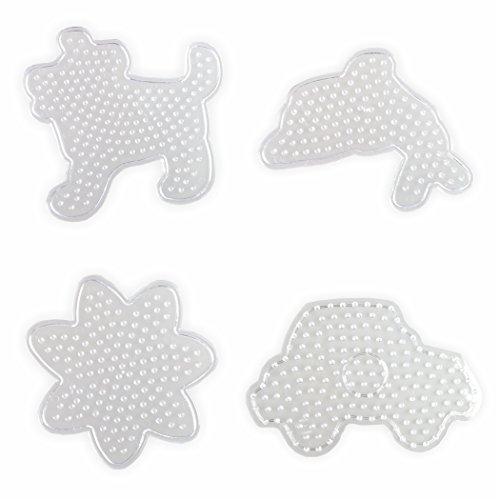 Stiftplatten für Bügelperlen Set Midi Hund Auto Delfin und Blume ca. 10x10 cm