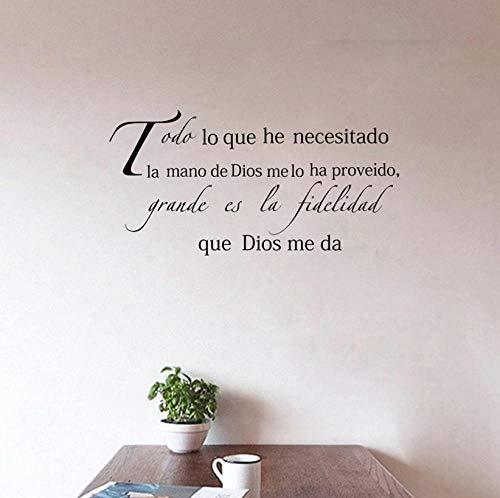Zjxxm Religion Wall Decal in Spanish, Espanol Wall Sticker Faith in God - Grande ES la fidelidad que Dios me da 78x38cm