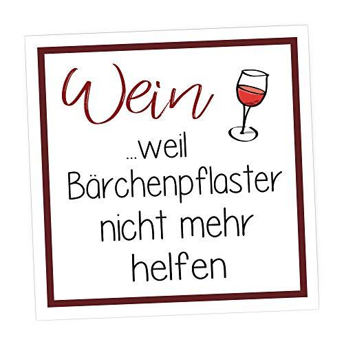 wood and color Kühlschrankmagnet mit Spruch - Magnet als tolle Geschenkidee, Hingucker (Wein - Weil BÄRCHENPFLASTER Nicht MEHR HELFEN)