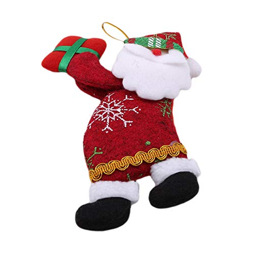 MOONRING Christmas Tree Decorations Plush Santa Snowman Elk Bear Doll Ornaments,Santa Claus,7.48 * 3.94 inch