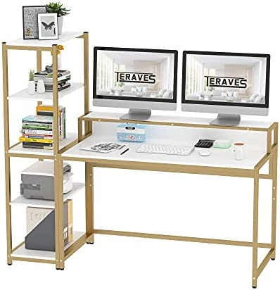 Teraves Computer Desk with 5 Tier Shelves,Reversible Writing Desk with Storage 47 Inch Study Table for Home Office Independent Bookcase and Desk for Multiple Scenes (Desk+Shelves, White+Gold Frame)