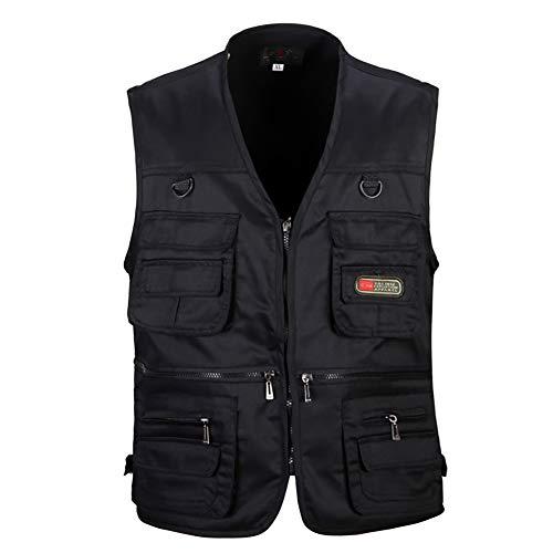 YSAGNZQ Mannen Multi Pocket Vest -Outdoor Vissen Foto Reporter Vest Casual Grote Size Oude Rits Taillejas Mouwloos Retro Jas Casual Denim Gilets