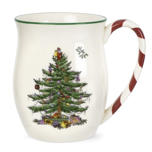 Spode Christmas Tree Mugs with Peppermint Handles Set...