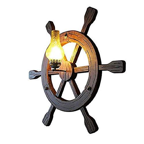 QYL wandlamp antiek van massief hout, decoratief licht met Middellandse Zee-stuurwiel 37 inch