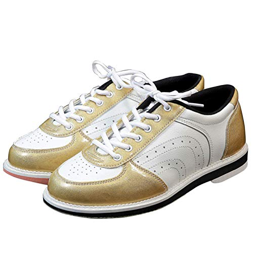 FJJLOVE Zapatos De Bolos para Hombre, Entrenadores De Moda para Damas Antideslizantes Livianos Lácteos sobre Cuencos De Cuero Zapatos Transpirables Jugadores De Bolos,Oro,41